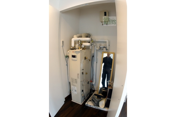 Boiler for hot water and floor heating.