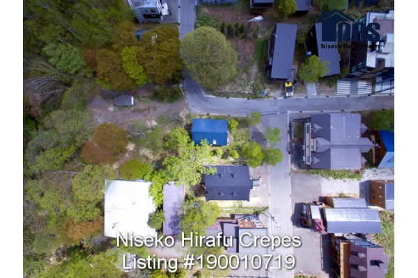 Aerial Plan view two of property showing its corner location in middle Niseko Hirafu Village.