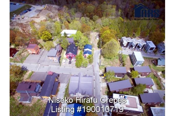 Aerial View 4 of corner property in Niseko Hirafu Village.