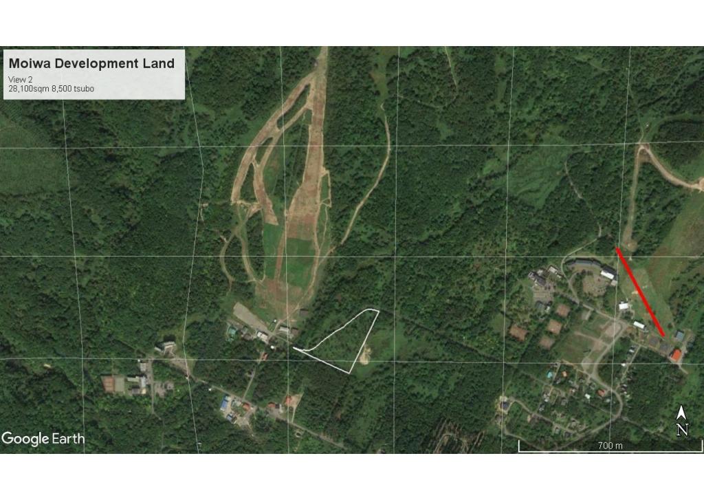Close Up aerial photo of land in relation to Niseko Moiwa and Niseko Annupuri ski Resorts.